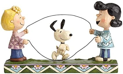 Peanuts by Jim Shore Sally, Lucy, Snoopy Jump Rope Figurine