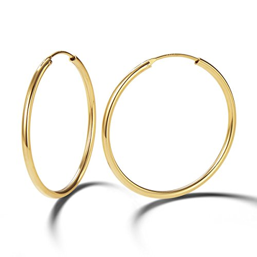 (Carleen 14K Yellow Gold Plated 925 Sterling Silver Dainty Endless Hoop Earrings for Women Girls (35mm))