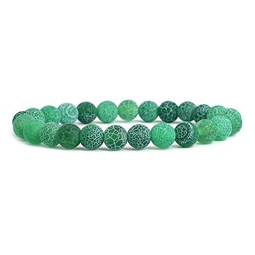 Green Weathered Agate Gemstone 8mm Round Beads Stretch Bracelet 7