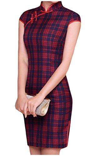 Vska Womens Print Plaid Cheong-Sam Chinese Vintage Stand Collar Traditional Art Premium Short Sleeve Silm Fit Dress AS1 Small ()