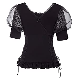 Belle Poque Women Steampunk Gothic Lace T Shirt Tops Victorian Blouse