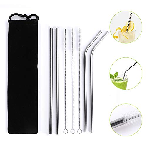 Metal Straws for Drinks, McoMce Straws Drinking Reusable Stainless Steel Straws, Drinking Straws with Straw Cleaning Brush for Yeti 20 OZ/30 OZ Tumbler - Set of 8, 2 Straight, 2 Bent, 3 Brushes, 1 Bag