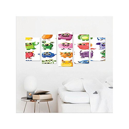 Liguo88 Custom canvas Outer Space Decor Cute Little Monsters with Funny Goofy Gestures Bacteria Beasts Kids Theme Wall Hanging for Bedroom Living Room - Glasses Goofy Big