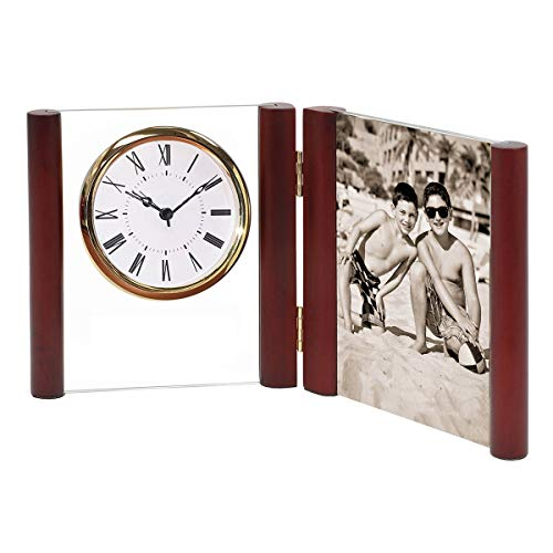- Monogram Online Wood/Glass Alarm Clock, Gold Bezel