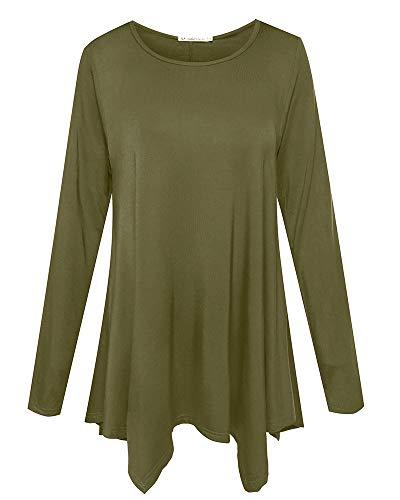 JollieLovin Womens Long Sleeve Tunic Top Loose Plus Size T Shirt (Army Green 2X)