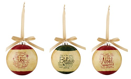 Faithworks Decoupage Christmas Ball Ornaments, Set Of 3, Written Reflections -