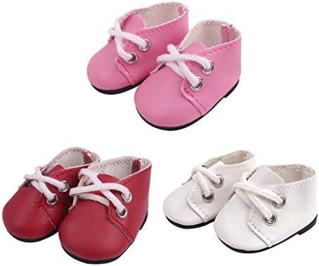 SM SunniMix 3ペア ドールシューズ 靴 PUレザー キャンバスシューズ ドレスアップ 約5cm ピンク レッド ホワイト