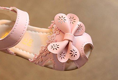 IGEMY Mädchen Floral Sandalen Kinder Spitze Prinzessin Casual Schuhe, Blumen Elfen Rosa