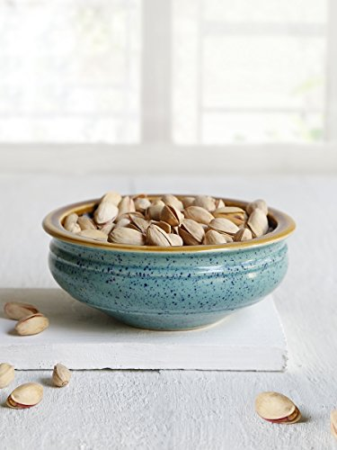 "Ceramic Serving Pottery Bowl Handmade 5.5"" with Blue Embossing And Brown Glaze Handcrafted Kitchen Dining Accessory Serveware"