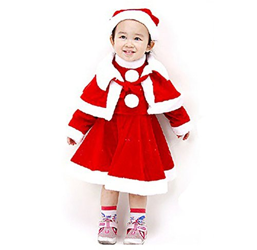 D.LIN Girls Classic Christmas Santa Claus Dresses + Cloak + Hat Suits(Toddler/Little (Girls In Santa Suits)