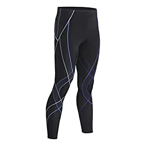 Men's CW-X Endurance Generator Tights, Black/Blue, LG X 27