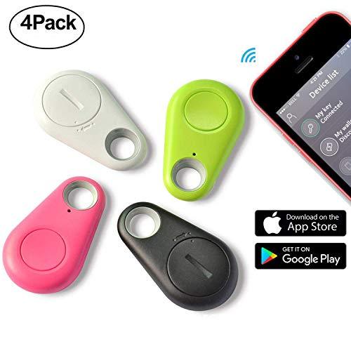 Smart Finder Bluetooth GPS Tracker - 4 Pack Bluetooth Keys Finder Locator Prime Deals for Pet Car Children Wireless Seeker Anti Lost Alarm for Wallet Kids Dog Cat Bag Phone Selfie Shutter by Jesam