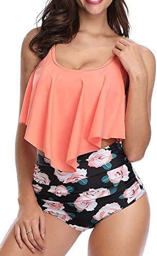 SouqFone Swimsuits for Women Two Piece Bathing Suits Ruffled Flounce Top with High Waisted Bottom Bikini Set
