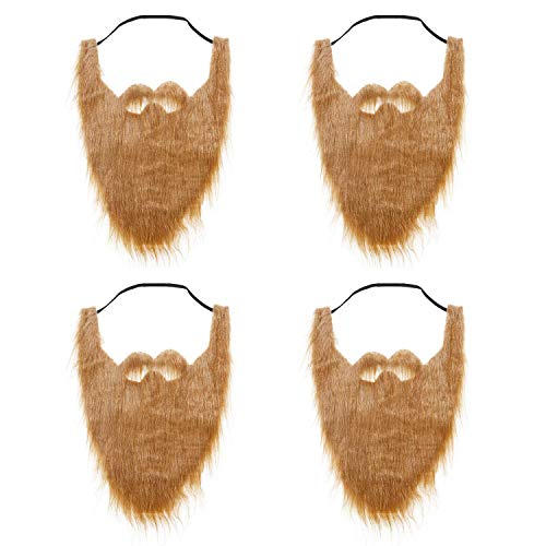 qiaoniuniu Fake Beard for Kids, Brown Full Beard and Mustache Costume Elastic Halloween Facial Hair 4 Pack -