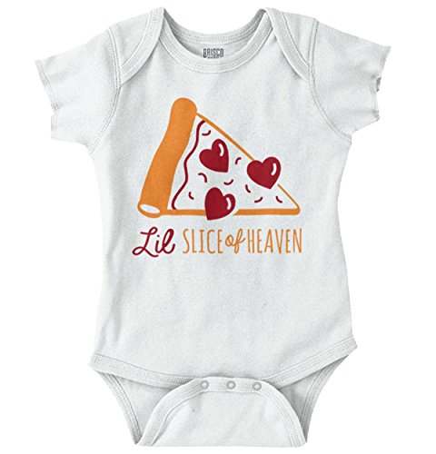 Brisco Brands Slice of Heaven Pizza Funny Shirt Cute Baby Clothes Romper Bodysuit - Newborn Dominos