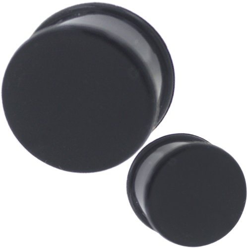 2 Pieces 3/4 inch Gauges 20mm plugs tunnels silicone double flare gauges for ears Plugs Stretcher fit Taper Expander Colored Body Piercing Jewelry Ear Plug Earlets Black ( 3/4