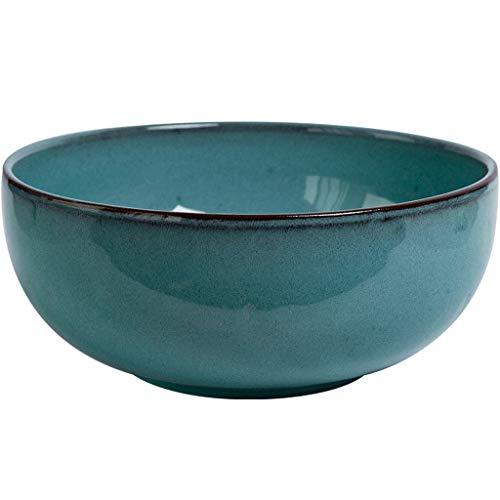 Ceramic Bowl - Household rice fruit bowl ceramic retro salad large caliber soup bowl Size: 22x9.5cm