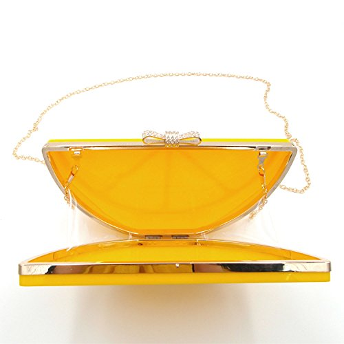 Handbag Banquet Women Clutch Acrylic Purses Kuang Lemon Evening Yellow Shape Chain xXZ0qSU