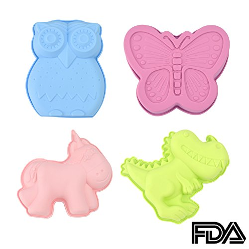 KALREDE Unicorn Cake Mold/Mould - Silicone Baking Molds for 4 Different Designs for Unicorn, Butterfly, Owl, Dinosaur Cartoon Animal Shape, Set of 4 Multi-Color (Pans Animals Baking)