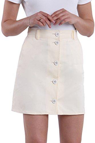 Fyriona Women's Button-up Front A-Line Flared Short Mini Skirt Beige (Cotton Twill Pencil Skirt)