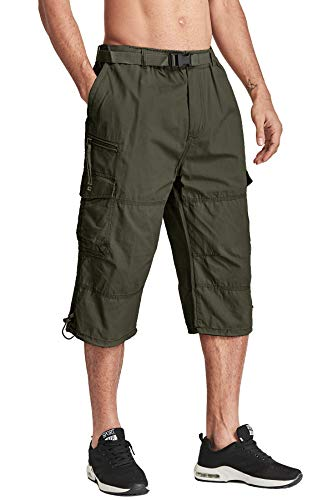 Military Style Short - TACVASEN Men's Military-Style Relaxed Fit Solid Ripstop Cargo Capri Shorts Green