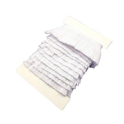 25mm Wide Cotton Fringe Tassel Trim 5 Yards (White)