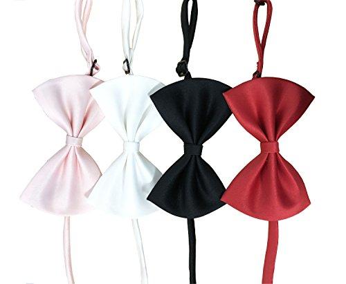 SGODA Adjustable Dog Bow Tie Wedding Collar, Pack of 4 (White Bow Dog Ties)