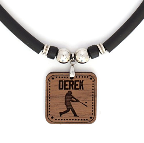 SpotlightJewels Personalized Baseball Batter/Hitter Walnut Hardwood Pendant Necklace Engraved with Your Name