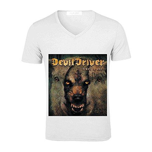 Trust No One Devildriver Mens V Neck Shirt Custom White (Devil Dress Up)
