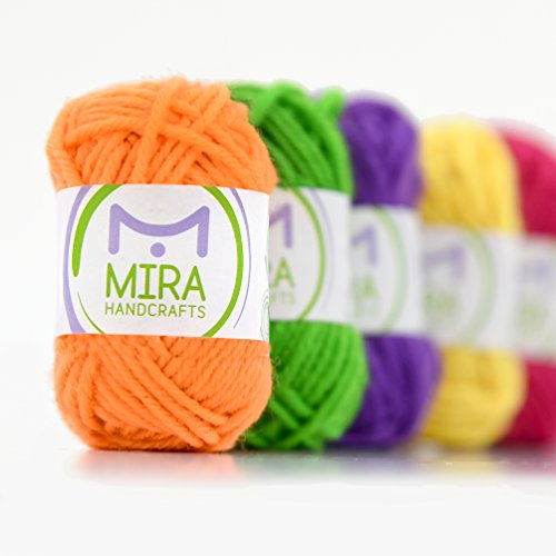 Mira Handcrafts 8 Yarn Skeins - Total of 176 Yards DK Yarn for Crafts, Knitting and Crochet - 7 Ebooks with Yarn Patterns Included - Great Starter Kit