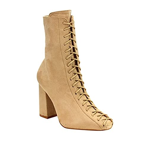 Cape Robbin Betisa-6 Women's Lace-Up Size Zipper Block Heel Ankle Booties,Nude,6.5