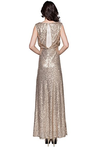 Annas Bridal Womens Scoop Sequin Evening Dresses Long Prom Gowns: Amazon.co.uk: Clothing
