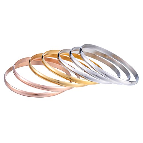 (Housweety Polish Smooth Tri-color Silver/Gold / Rose Gold Stainless Steel StackableBangle Bracelets Set for Women)