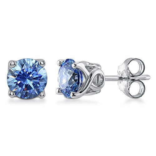 BERRICLE Rhodium Plated Sterling Silver Solitaire Stud Earrings Made with Swarovski Zirconia Round