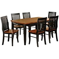 HOMES: Inside + Out IDF-3101T 7PC SET Charleston Mission Style 7 Piece Rectangular Dining Set, Antique Black/Oak