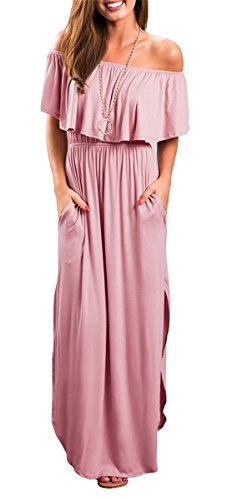 MIDOSOO Womens Off The Shoulder Ruffled Pockets Strapless Side Split Maxi Dresses Pink M