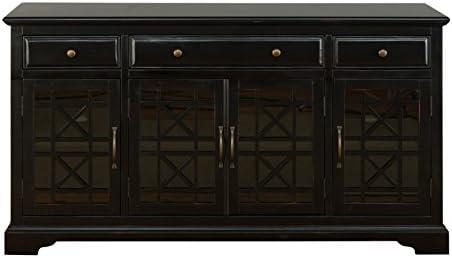 Jofran , Craftsman, 60 Media Unit, 60 W X 19 D X 32 H, Antique Black Finish, Set of 1