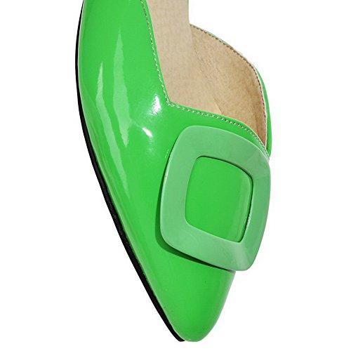 Sandales Unie Vert Femme Tire AgooLar Talon Fermeture à Verni Bas Couleur d'orteil GMBLA012601 gHqXvFq