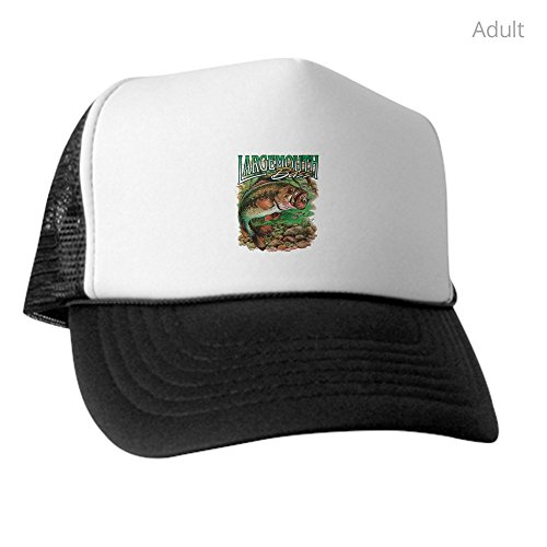 Royal Lion Trucker Hat (Baseball Cap) Largemouth Bass Fishing Fisherman - Black and White