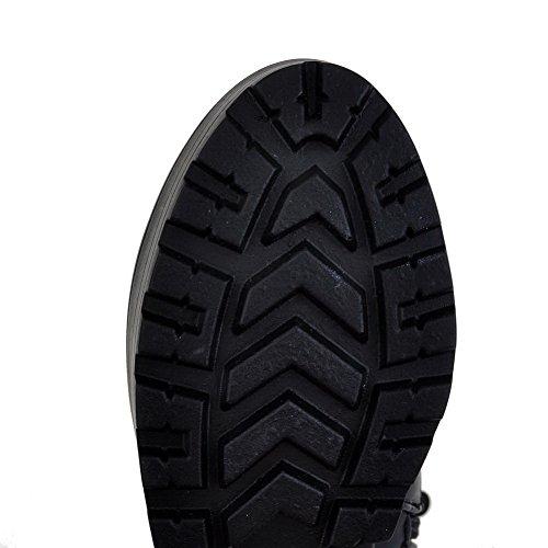 A&N Womens Metal Ornament Platform Chunky Heels Imitated Leather Boots Blue 0qq2c