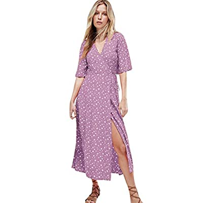 YFancy Bohemian Dresses for Women Summer Casual V Neck Dot Printed Dress Short Sleeve Split High Waist Long Beach Dress
