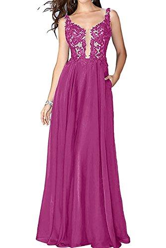 Braut Brautmutterkleider A Spitze Rosa mia La Fuchsia Abschlussballkleider Abendkleider Promkleider Festlichkleider Langes Linie TCwxAnZq