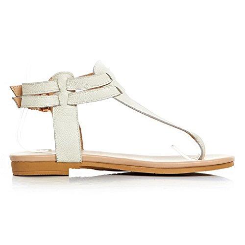 Amoonyfashion Kvinna Ko Läder Fast Spänne Split Tå Låga Klackar Vippan-sandaler Beige
