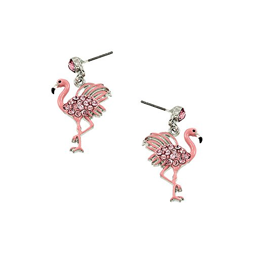 Liavy's Pink Flamingo Fashionable Earrings - Enamel - Dangle Post - Sparkling Crystal - Unique Gift and Souvenir