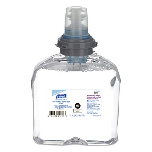 PURELL TFX Advanced Hand Sanitizer E3-Rated Foam, Fragrance Free, 1200 mL Sanitizer Refill  for PURELL TFX Touch-Free Dispenser (Pack of 2) – 5393-02