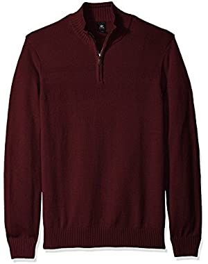 Men's Big and Tall Cotton Long Sleeve Solid Textured Chest Stripe