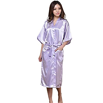 GL&G bathrobes men and women lovers pajamas silk bathrobes Japanese kimono comfort breathable Light purple pajamas
