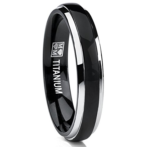 4mm Thin Dome Black Two Tome Titanium Wedding Band Engagement Ring, Comfort Fit Size 11 - Comfort Fit Two Tone Ring