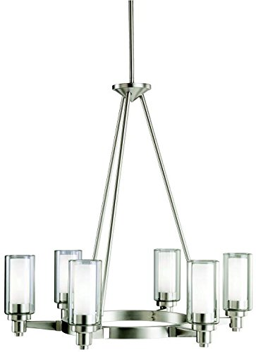 Kichler 2344NI, Circolo Glass 1 Tier Chandelier Lighting, 6 Light, 360 Watts Halogen, Brushed Nickel
