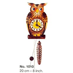 Special Owl Figure One Day Movement Quarter Hour Cuckoo Clock 8 Inch